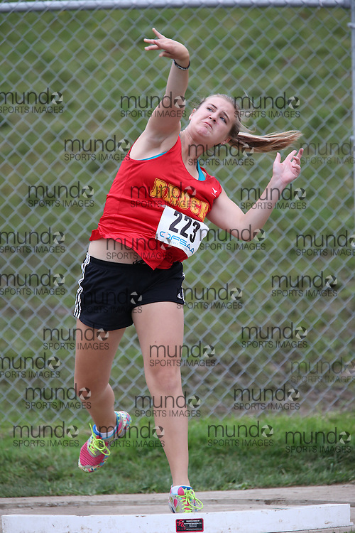 Gabriel Warren of Brock HS - Cannington competes in the midget girls shot put at the 2013 OFSAA Track and Field Championship in Oshawa Ontario, Thursday,  June 6, 2013.<br /> Mundo Sport Images / Sean Burges