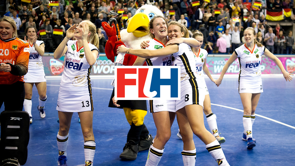 BERLIN - Indoor Hockey World Cup<br /> Semi-final: Belarus - Germany<br /> foto: Janne-M&uuml;ller Wieland and Anne Schr&ouml;der.<br /> WORLDSPORTPICS COPYRIGHT FRANK UIJLENBROEK