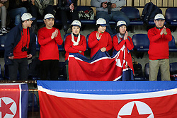 Fans of North Korea during ice hockey match between Korea and DPR Korea in  2016 IIHF Women's World Championship Division II on April 2, 2016 in Sportna dvorana, Bled, Slovenia. Photo By Matic Klansek Velej / Sportida