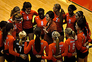 1 Nov. 2011 -- EDWARDSVILLE, Ill. -- Edwardsville High School girls' volleyball coah Jami Parker addresses her team during a break in their game with Belleville West High School the IHSA Class 4A girls volleyball sectional semifinal at Edwardsville High School in Edwardsville, Ill. Tuesday, Nov. 1, 2011. Photo © copyright 2011 Sid Hastings.