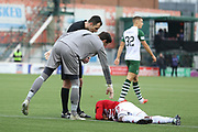 Hamilton Academical midfielder Tom Taiwo (12)  lies injured on the ground and is attended to by Glasgow Celtic goalkeeper Craig Gordon (1)  during the Ladbrokes Scottish Premiership match between Hamilton Academical FC and Celtic at New Douglas Park, Hamilton, Scotland on 24 November 2018. Pic Mick Atkins