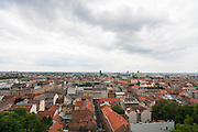 High angle view of residential district in Zagreb; Croatia