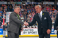 REGINA, SK - MAY 25: NHL Alumni Guy Lafleur shakes the hand of Humboldt Broncos president Kevin Garinger at the Brandt Centre on May 25, 2018 in Regina, Canada. (Photo by Marissa Baecker/CHL Images)