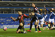 Bournemouth midfielder Marc Pugh shoots during the The FA Cup third round match between Birmingham City and Bournemouth at St Andrews, Birmingham, England on 9 January 2016. Photo by Alan Franklin.
