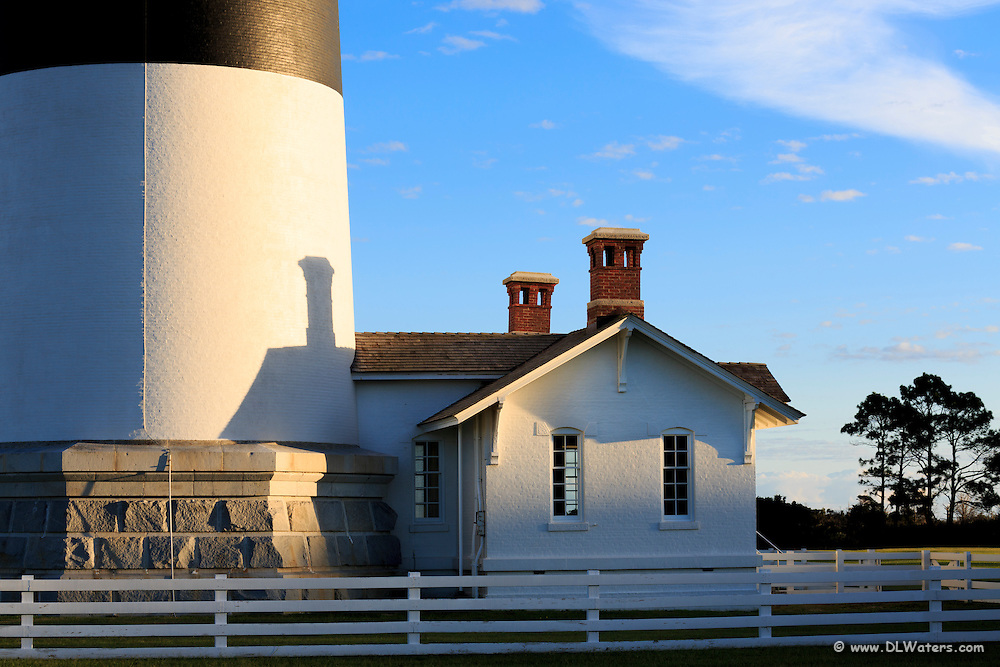 Shadow of the chimney projected on to Bodie Island Lighthouse in the late afternoon light.