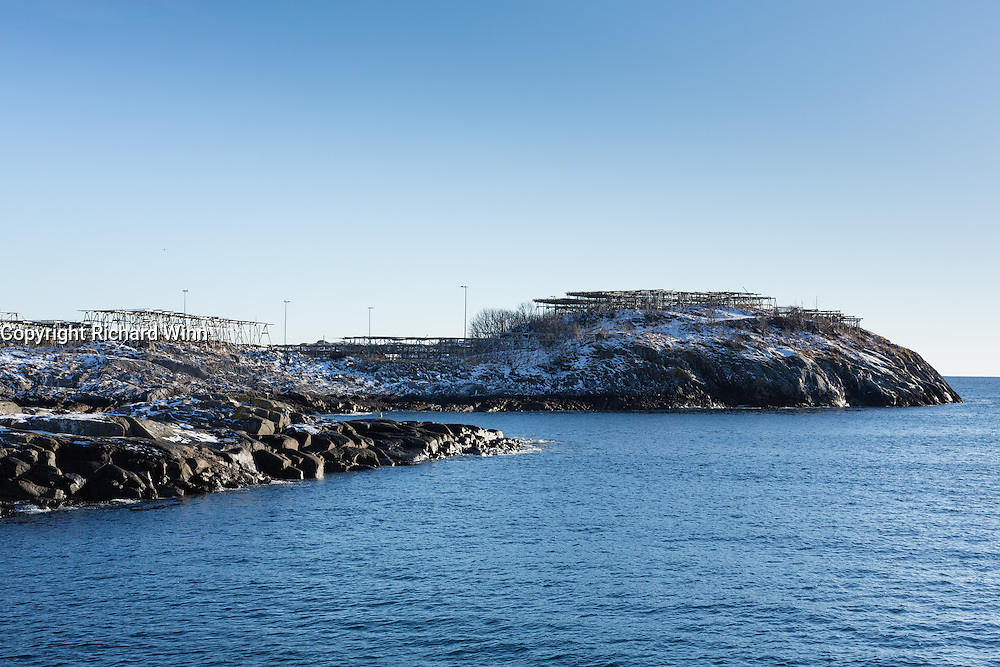 View of fishing racks just outside of Henningsvær, in the Lofoten Islands of Northern Norway.