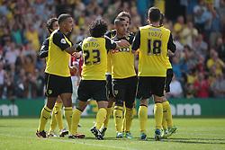 Watford celebrate Lewis McGugan's equaliser  - Photo mandatory by-line: Nigel Pitts-Drake/JMP - Tel: Mobile: 07966 386802 25/08/2013 - SPORT - FOOTBALL -Vicarage Road Stadium - Watford -  Watford v Nottingham Forest - Sky Bet Championship