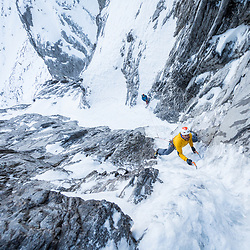Jeff Mercier climbing the third pitch of Big Brother, 200m WI5 on Little Sister, in Canmore AB