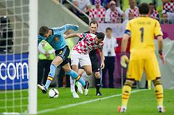 Gerard Pique of Spain vs Darijo Srna of Croatia during the UEFA EURO 2012 group C match between  Croatia and Spain at PGE Arena Gdansk on June 18, 2012 in Gdansk / Danzig, Poland. (Photo by Vid Ponikvar / Sportida.com)