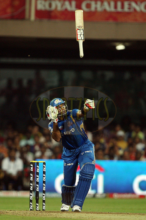 Kieron Pollard during match 62 of the the Indian Premier League ( IPL) 2012  between The Royal Challengers Bangalore and the Mumbai Indians held at the M. Chinnaswamy Stadium, Bengaluru on the 14th May 2012..Photo by Jacques Rossouw/IPL/SPORTZPICS