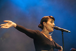 "Jessie Ware on stage on the Goldenvoice Arena. Friday at Rockness 2013, the annual music festival which took place in Scotland at Clune Farm, Dores, on the banks of Loch Ness, near Inverness in the Scottish Highlands. The festival is known as ""the most beautiful festival in the world"" ."