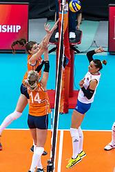 11-10-2018 JPN: World Championship Volleyball Women day 12, Nagoya<br /> Netherlands - Serbia 3-0 / Yvon Belien #3 of Netherlands, Laura Dijkema #14 of Netherlands, Maja OgnjenovicC #10 of Serbia