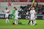 Kyle Naughton of Swansea is shown a red card during the Barclays Premier League match between Swansea City and Sunderland at the Liberty Stadium, Swansea, Wales on 13 January 2016. Photo by Mark Hawkins.