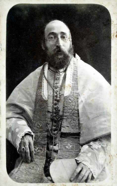 portrait priest fully dressed up late 1800s