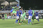 Forest Green Rovers Ethan Pinnock(16) heads the ball misses the target during the Vanarama National League match between Eastleigh and Forest Green Rovers at Arena Stadium, Eastleigh, United Kingdom on 10 January 2017. Photo by Shane Healey.
