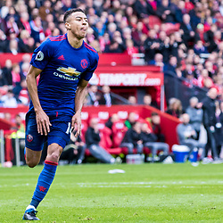 Jesse Lingard of Manchester United wheels away licking in sheer delight at his goal from the edge of the area after a swift counter attack from United.Middlesborough v Manchester United, Barclays English Premier League, 19th March 2017. (c) Paul Cram | SportPix