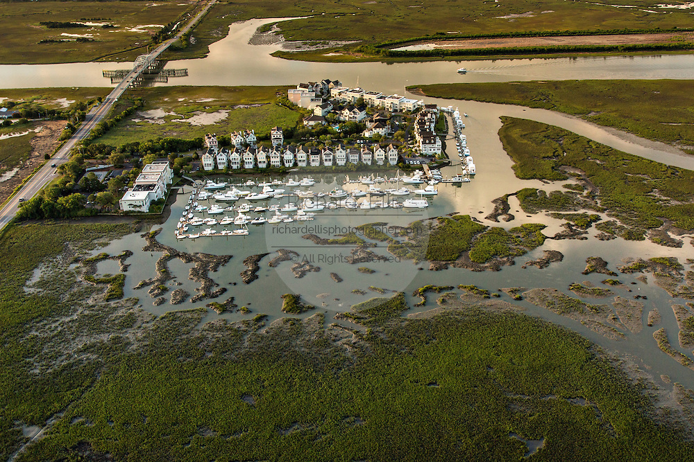 Aerial view of a development surrounded by marsh Mount Pleasant, SC.
