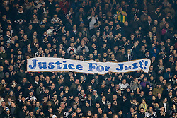 "West Brom fans hold up a banner reading ""Justice for Jeff"" - Photo mandatory by-line: Rogan Thomson/JMP - 07966 386802 - 11/02/2015 - SPORT - FOOTBALL - West Bromwich, England - The Hawthorns - West Bromwich Albion v Swansea City - Barclays Premier League."