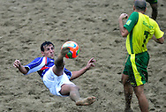 09 December 2006, Frances Thierry Ottavy shoots during their game at the Vodacom Pro Beach Soccer Tour against Brazil in Durban's Bay of Plenty on Saturday. Brazil won the game 9-5. Picture: Shayne Robinson, PhotoWire Africa