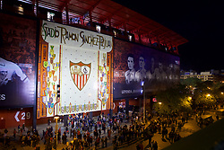 SEVILLE, SPAIN - Tuesday, November 21, 2017: An exterior view of the stadium before the UEFA Champions League Group E match between Sevilla FC and Liverpool FC at the Estadio Ramón Sánchez Pizjuán. (Pic by David Rawcliffe/Propaganda)