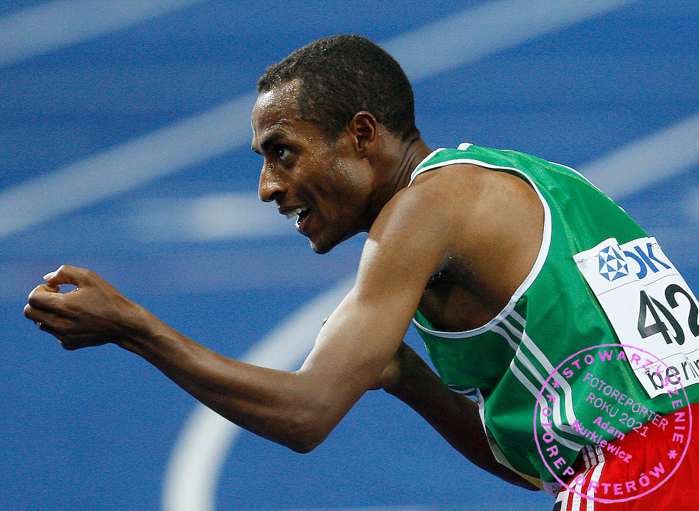 BERLIN 17/08/2009.Kenenisa Bekele of Ethiopia celebrates his victory in the men's 10000 meters final during the world athletics championships at the Olympic stadium.Phot: Piotr Hawalej / WROFOTO