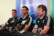 Corey Flynn, Victor Vito and Andrew Hore. IRB Rugby World Cup 2011, All Blacks Press Conference at Heritage Hotel, Auckland, New Zealand. Sunday 4th September 2011. Photo: Anthony Au-Yeung / photosport.co.nz