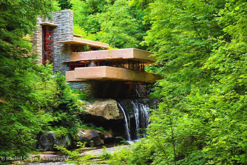 &quot;Fallingwater Painterly 4&quot;<br /> <br /> Wonderful scenic and historic Fallingwater during the summer. Beautiful done as a digital oil painting!
