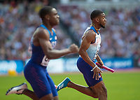 Athletics - 2017 IAAF London World Athletics Championships - Day Nine, Morning Session<br /> <br /> 4 x 100m Relay Men - Round 1<br /> <br /> Nethaneel Mitchell-Blake heads down the home straight at the London Stadium<br /> <br /> COLORSPORT/DANIEL BEARHAM