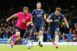 Michael Bostwick of Peterborough United in action with Southend United's Ryan Leonard and David Mooney - Mandatory byline: Joe Dent/JMP - 07966386802 - 05/09/2015 - FOOTBALL - Roots Hall -Southend,England - Southend United v Peterborough United - Sky Bet League One