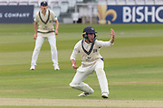 Tom Lace not quick enough for this sharp chance during the Specsavers County Champ Div 2 match between Middlesex County Cricket Club and Leicestershire County Cricket Club at Lord's Cricket Ground, St John's Wood, United Kingdom on 17 May 2019.