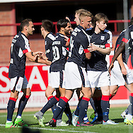 Dundee&rsquo;s Faissal El Bakhtaoui is congratulated after his goal - Dundee v Kilmarnock in the Ladbrokes Scottish Premiership at Dens Park, Dundee. Photo: David Young<br /> <br />  - &copy; David Young - www.davidyoungphoto.co.uk - email: davidyoungphoto@gmail.com