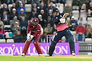 Jonny Bairstow of England plays and attacking shot during the One Day International match between England and West Indies at the Ageas Bowl, Southampton, United Kingdom on 29 September 2017. Photo by Graham Hunt.