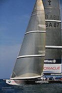 United States team BMW Oracle Racing relaxes at end of America's Cup fleet race; Valencia, Spain.