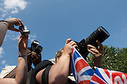 Spectators 'watching' the mararathon during the London Olympics.