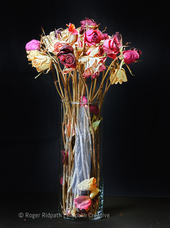 old dried roses in clear glass vase