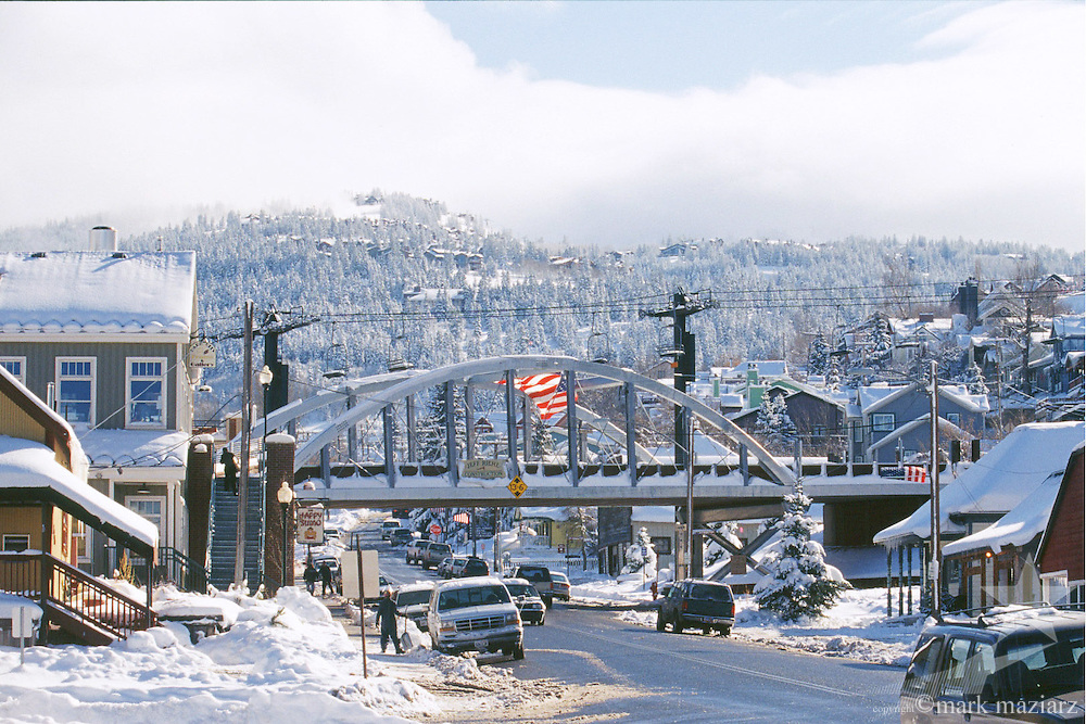 ski bridge over Park Ave. in downtown Park City Utah USA