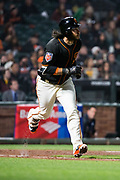 San Francisco Giants shortstop Brandon Crawford (35) runs to first base against the Oakland Athletics at AT&T Park in San Francisco, California, on March 26, 2018. (Stan Olszewski/Special to S.F. Examiner)