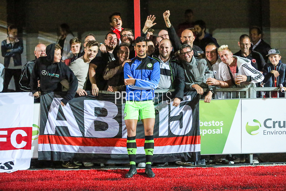 Forest Green Rovers Omar Bugiel(11) with the Worthing FC fans during the Pre-Season Friendly match between Worthing FC and Forest Green Rovers at Woodside Road, Worthing, Uni on 1 August 2017. Photo by Shane Healey.