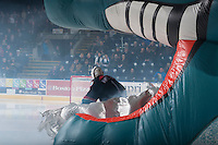 KELOWNA, CANADA - DECEMBER 5: Jackson Whistle #1 of Kelowna Rockets enters the ice against the Prince George Cougars on December 5, 2014 at Prospera Place in Kelowna, British Columbia, Canada.  (Photo by Marissa Baecker/Shoot the Breeze)  *** Local Caption *** Jackson Whistle;