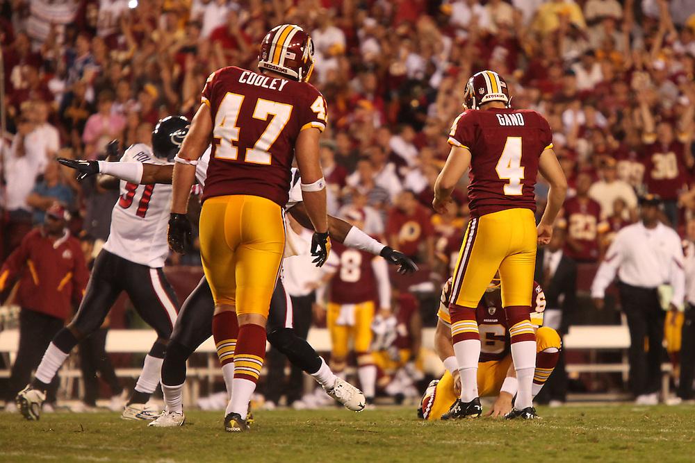 Landover, Md., Sept. 19, 2010 - Washington Redskins vs. Houston Texans - Gano misses the game-winning field goal in OT.