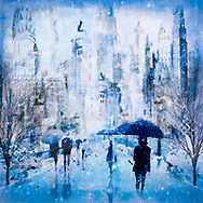 Painterly rendering of a snowy urban scene with sketched people with umbrellas walking along a street with lanterns and stylized flowers against a background of skyscrapers in blue tones