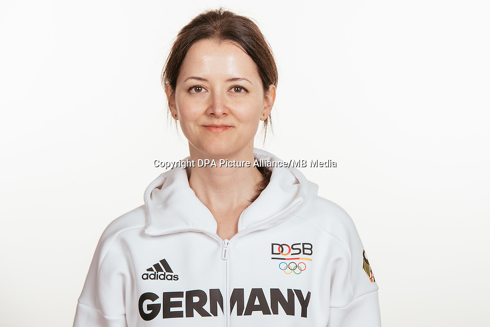 Celine Babic poses at a photocall during the preparations for the Olympic Games in Rio at the Emmich Cambrai Barracks in Hanover, Germany, taken on 14/07/16 | usage worldwide