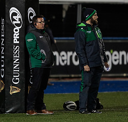 Connacht's Head Coach Kieran Keane during the pre match warm up<br /> <br /> Photographer Simon King/Replay Images<br /> <br /> Guinness Pro14 Round 9 - Cardiff Blues v Connacht Rugby - Friday 24th November 2017 - Cardiff Arms Park - Cardiff<br /> <br /> World Copyright © 2017 Replay Images. All rights reserved. info@replayimages.co.uk - www.replayimages.co.uk