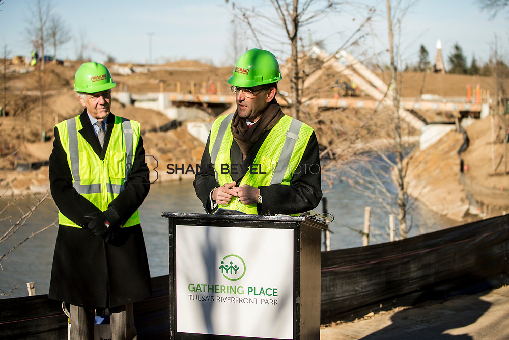 1/12/18 11:09:58 AM -- Halliburton CEO Jeff Miller and George Kaiser visit the Gathering Place for a press conference announcing Halliburton's support for the park. <br /> <br /> Photo by Shane Bevel
