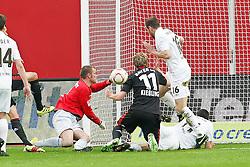 10.04.2011,  BayArena, Leverkusen, GER, 1. FBL, Bayer Leverkusen vs FC St. Pauli, 29. Spieltag, im Bild: Benedikt Pliquett (Torwart St. Pauli) (L) haelt gegen Stefan Kießling (Leverkusen #11)  EXPA Pictures © 2011, PhotoCredit: EXPA/ nph/  Mueller       ****** out of GER / SWE / CRO  / BEL ******