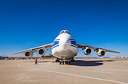The gigantic Antonov AN-124-100 cargo aircraft at Hartsfield-Jackson Atlanta International Airport.