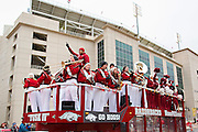 FAYETTEVILLE, AR - NOVEMBER 15:  Band and Cheerleaders of the Arkansas Razorbacks perform outside the stadium before a game against the LSU Tigers at Razorback Stadium on November 15, 2014 in Fayetteville, Arkansas.  (Photo by Wesley Hitt/Getty Images) *** Local Caption ***
