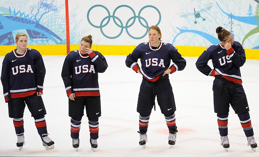 The USA's women's hockey team members after losing to Canada 2-0 to claim the silver medal at Canada Hockey Place, day 14 of the 2010 Vancouver Winter Olympics.