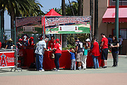 ANAHEIM, CA - APRIL 26:  Fans enter to win the Ceremonial First Pitch outside the Los Angeles Angels of Anaheim game against the Seattle Mariners at Angel Stadium on Sunday, April 26, 2009 in Anaheim, California.  The Angels shut out the Mariners 8-0.  (Photo by Paul Spinelli/MLB Photos via Getty Images)