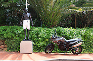 A sculture of Gandhi at the Mount Nelson Hotel in Cape Twon South Africa.  photograph by Dennis Brack...